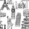 Sketch Eiffelturm, Pisa-Turm, Big Ben, Taj Mahal
