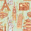 Sketch Eiffelturm, Pisa-Turm, Big Ben, suitecase