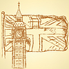 Skizzieren Sie Big Ben auf Fliese mit UK-Flagge, Hintergrund