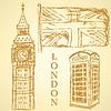Sketch Big Ben, UK-Flagge und Telefonkabine, Hintergrund