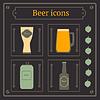 Bier-Set, Glas, Glas, bottel und Becher