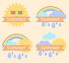 Фон с солнце, облака, радуга и дождь | Векторный клипарт
