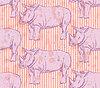 Sketch wilden Nashorn, nahtlose Muster