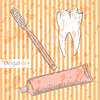 Sketch Zahnpasta, Zahnbürste und Zähne,