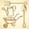 Сад вилка, курган, лейкой и лопатой, | Векторный клипарт