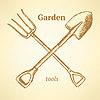 Сад вилка и лопата, фон в стиле эскиза | Векторный клипарт