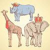 Hipster животные, старинные фон | Векторный клипарт