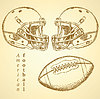 Skizze Helm und Kugel des amerikanischen Fußballs