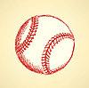 Эскиз милый бейсбольный мяч, фон | Векторный клипарт