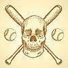 Sketch Baseball-Ball, Schläger und Schädel