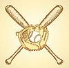 Sketch Baseball-Ball, Handschuh und Schläger
