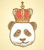 Sketch panda in der Krone, Jahrgang Hintergrund