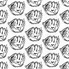 Sketch Baseball-Handschuh, Jahrgang nahtlose Muster