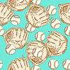 Sketch Baseball bal ang Handschuh, nahtlose Muster | Stock Illustration