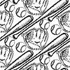 Sketch Baseball-Ball, Schläger und Handschuh, nahtlos