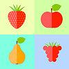 Квартира малина, яблоко, груша и клубника | Векторный клипарт