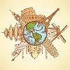Skizzieren Sie berühmte Gebäude rund um den Planeten Erde