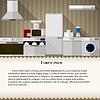 Flache Darstellung der Küche