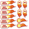 ID 4406265 | Hot price and offers sale flaming badges set | Klipart wektorowy | KLIPARTO
