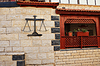 Stone wall and wooden balcony | Stock Foto