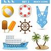 Strand Icons Set | Stock Vektrografik