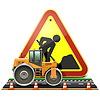 분쇄기와 도로 건설 개념 | Stock Vector Graphics