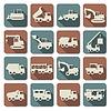 Vektor Baumaschinen Wohnung Icons