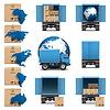 벡터 배송 트럭 아이콘을 설정 | Stock Vector Graphics