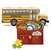 Schultasche und Bus