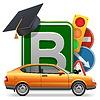 자동차와 함께 학교 개념을 운전 | Stock Vector Graphics