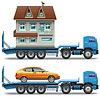 Anhänger mit Haus und Auto