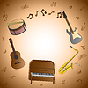 Карточка с музыкальными инструментами | Векторный клипарт