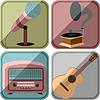 Иконки в стиле ретро с музыкальными инструментами и | Векторный клипарт