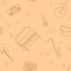 Бесшовные с музыкальными инструментами | Векторный клипарт