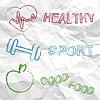 Gesund, Sport, Essen auf zerknittertes Papier | Stock Vektrografik