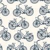 Nahtlose Muster mit Vintage-Fahrrädern Umriss