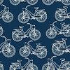 Nahtlose Muster mit Vintage-Fahrrädern Umriss | Stock Vektrografik