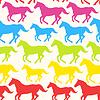Nahtlose Muster mit Regenbogen Silhouette Pferde