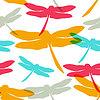 Nahtlose Muster mit Silhouette Libellen. Frühling | Stock Vektrografik