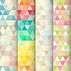 Abstrakte geometrische Dreieck nahtlose Muster eingestellt | Stock Vektrografik