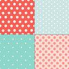 폴카 설정 다채로운 그린 원활한 패턴을 도트 | Stock Vector Graphics