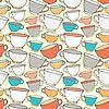 Векторный клипарт: Бесшовные с декоративными чашками