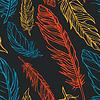 Векторный клипарт: Бесшовные шаблон с перьями