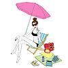 Векторный клипарт: Девочка, загорать на пляже