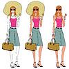 Векторный клипарт: стильная женщина с ее большой сумкой