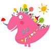 Векторный клипарт: динозавра друзья