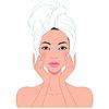 Векторный клипарт: Красивая женщина по уходу за кожей