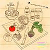 Векторный клипарт: вареные овощи