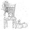 Векторный клипарт: деревянные стулья и старинный ваза натюрморт