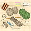 Векторный клипарт: вязание инструменты